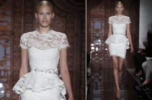 photo of bridal market look 2013 little white wedding dresses Reem Acra