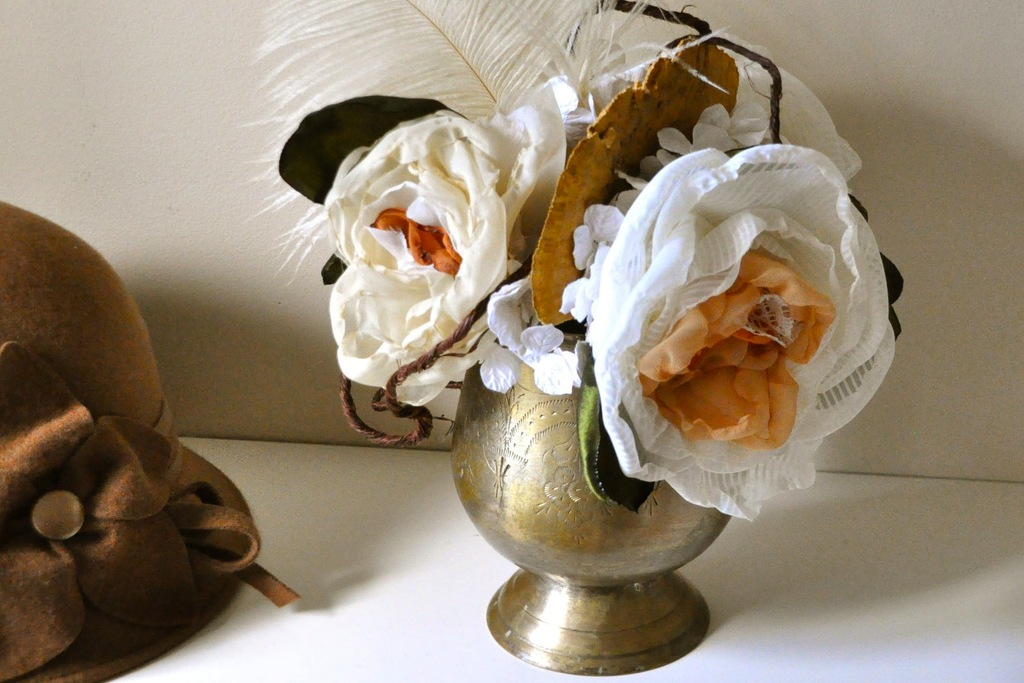 Fall-wedding-flowers-bouquets-and-centerpieces-brass-vase-fabric-flowers.full
