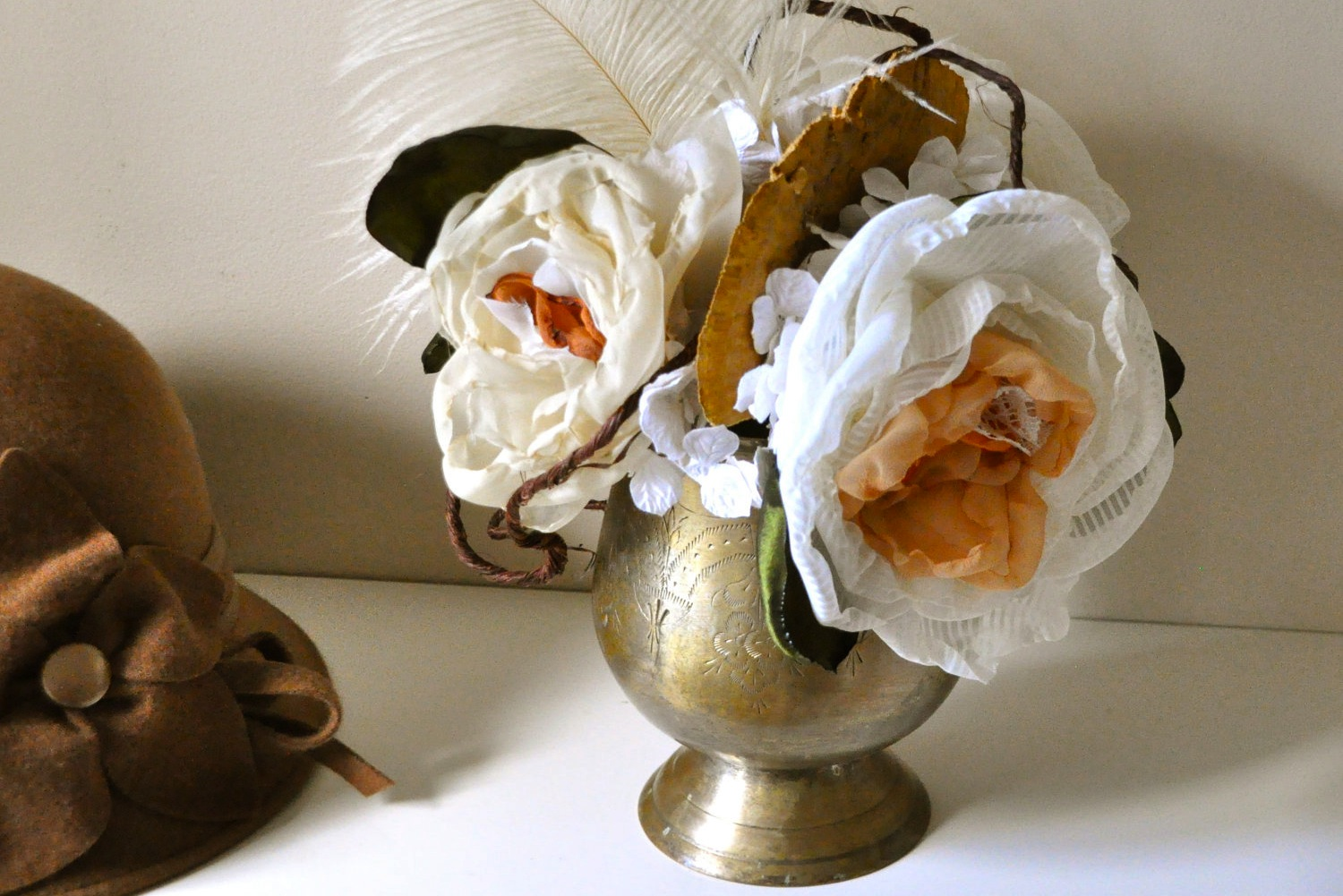 Fall-wedding-flowers-bouquets-and-centerpieces-brass-vase-fabric-flowers.original