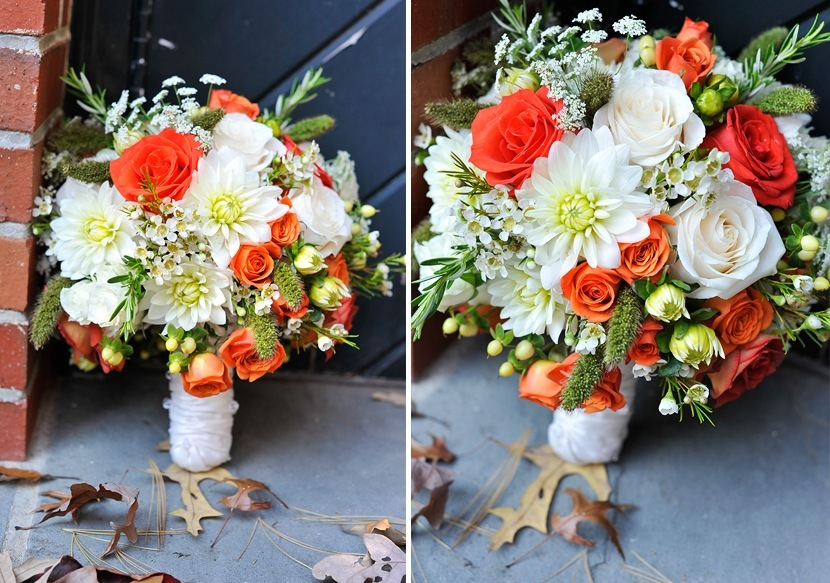 fall wedding flowers bouquets and centerpieces ivory green neon coral