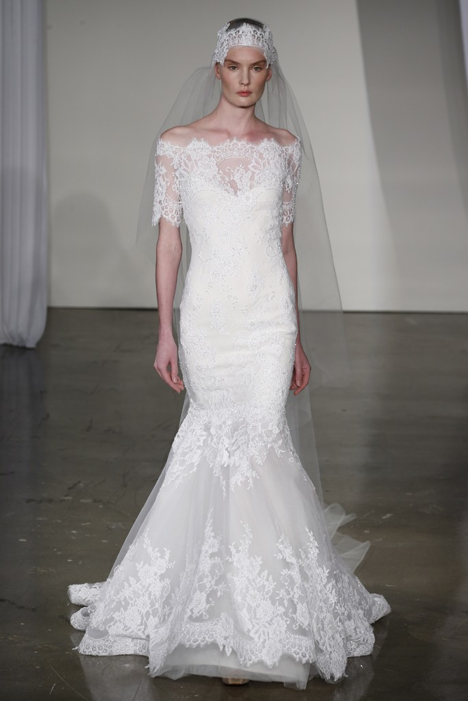 Fall 2013 wedding dress trends bridal fashion marchesa for Lace off the shoulder wedding dresses