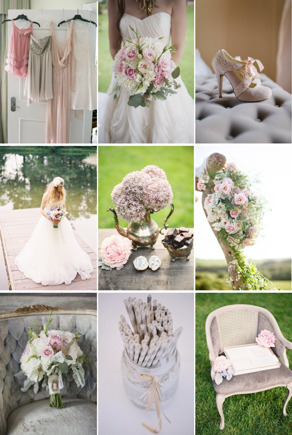 romantic wedding color palette rosy brown sage dove gray 2