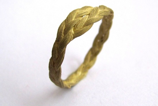 unexpectedly awesome wedding bands for brides and grooms Etsy handmade gold braided