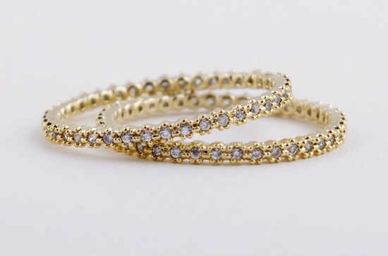 unexpectedly awesome wedding bands for brides and grooms Etsy handmade golden diamante