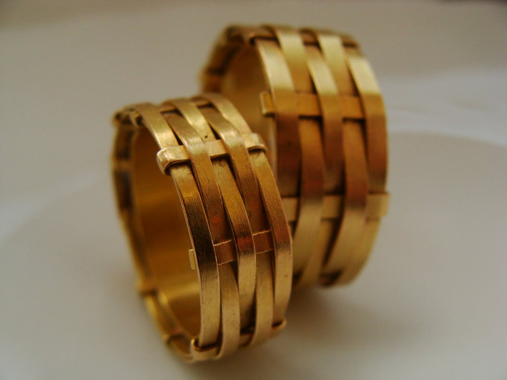 unexpectedly awesome wedding bands for brides and grooms Etsy handmade gold basket weave