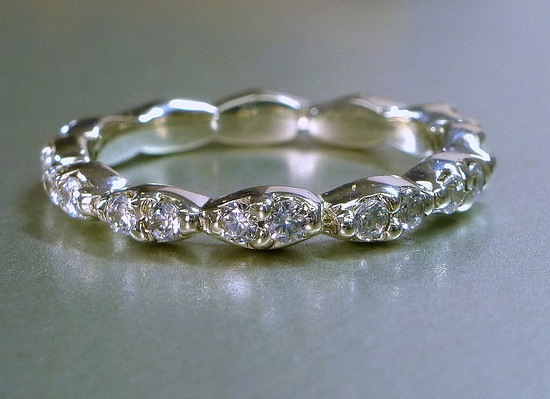unexpectedly awesome wedding bands for brides and grooms Etsy handmade diamond set