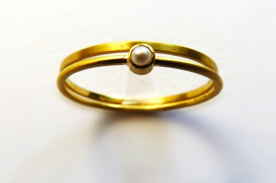 unexpectedly awesome wedding bands for brides and grooms Etsy handmade yellow gold pearl