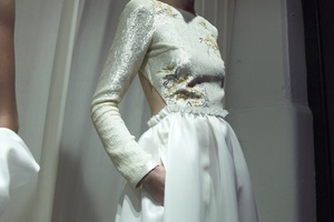 photo of Houghton Bridal wedding dresses and separates for edgy vintage brides beaded bodice