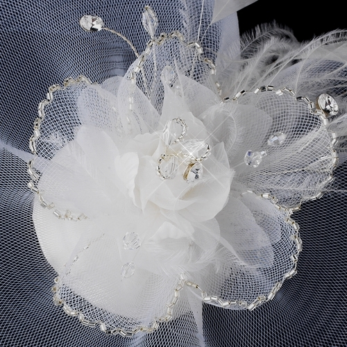 Feather Tulle Hat Comb 2174 closeup