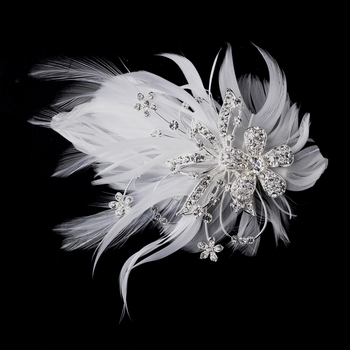 Feather Silver Crystal Bridal Hair Clip Fascinator 456