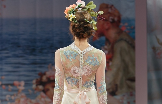 2013 wedding dress by Claire Pettibone An Earthly Paradise bridal collection romantic updo