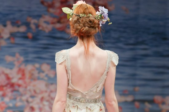 romantic brides runway inspiration Claire Pettibone updos statement backs beauty details 3