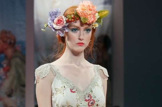 bridal beauty inspiration from 2013 wedding dress catwalks Claire Pettibone 5