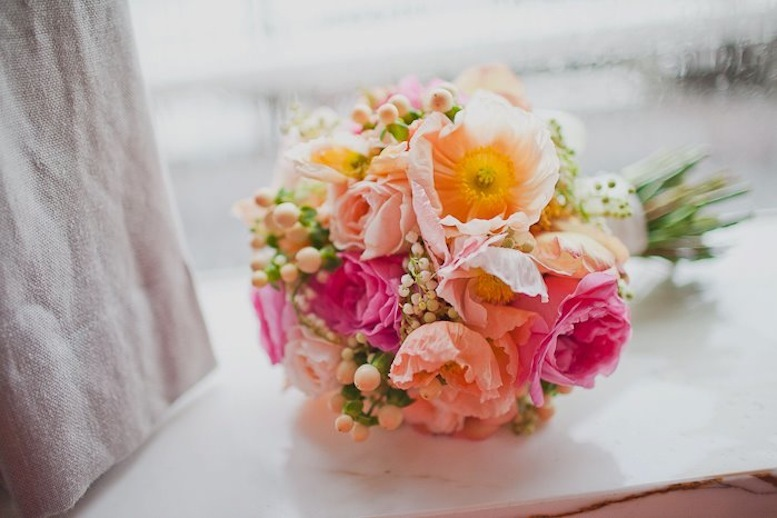 romantic wedding flowers Poppies peach pink yellow bouquet