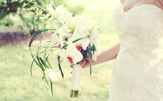 photo of tropical orchid bridal bouquet