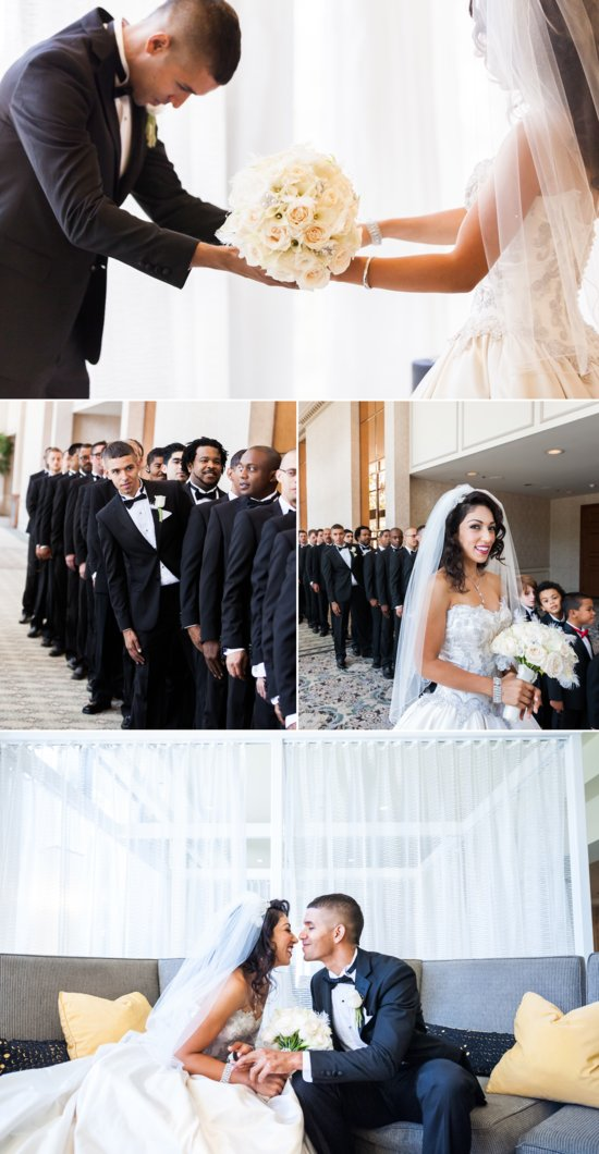 California bride and groom take portraits at elegant LA wedding venue 2
