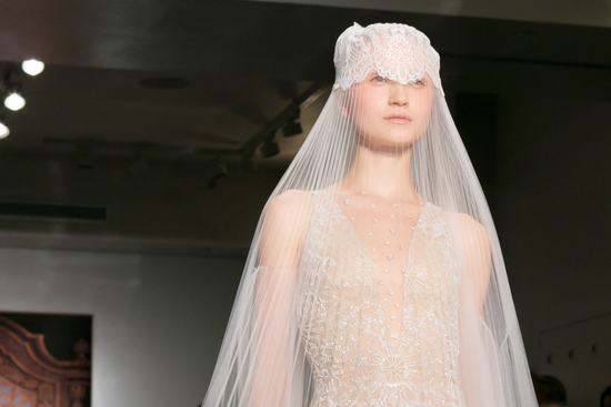 Reem Acra wedding dress Fall 2013 bridal statement veil 1