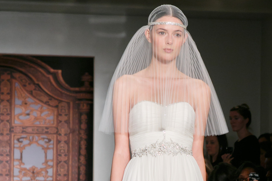 Reem Acra wedding dress Fall 2013 bridal statement veil 2
