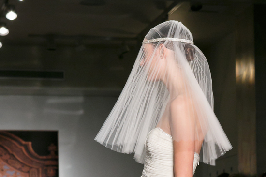 Reem Acra wedding dress Fall 2013 bridal statement veil 3