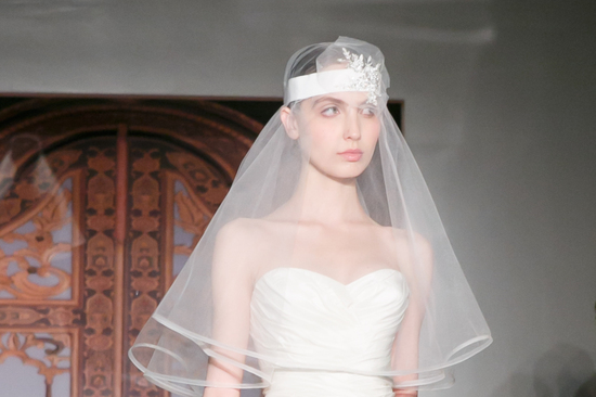 Reem Acra wedding dress Fall 2013 bridal statement veil 5