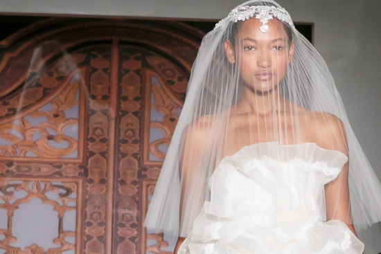 Reem Acra wedding dress Fall 2013 bridal statement veil 6