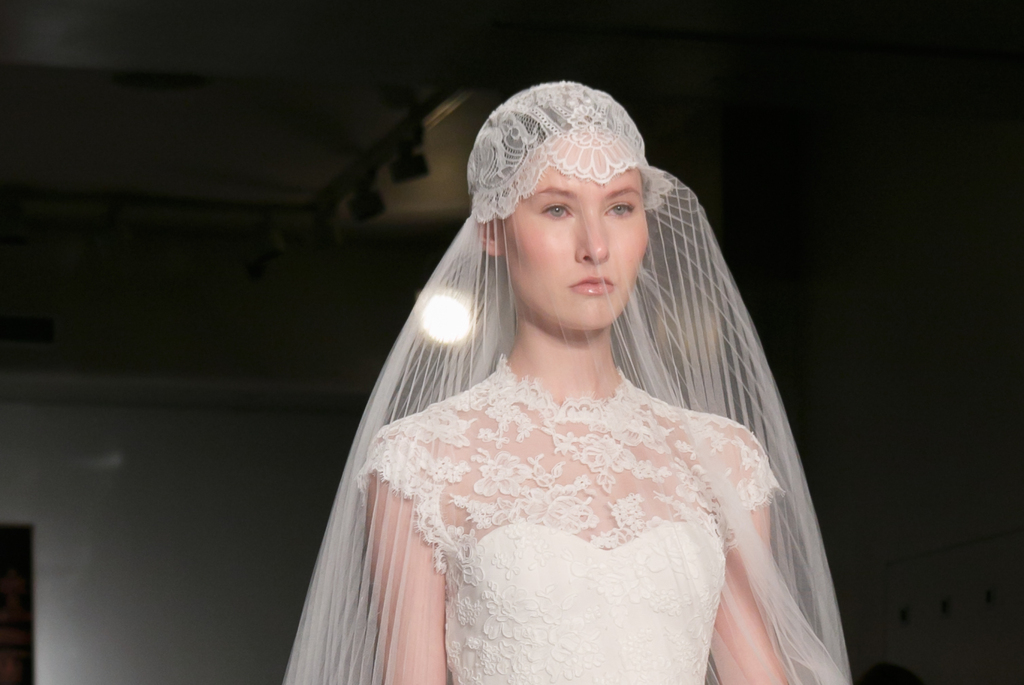 Reem Acra wedding dress Fall 2013 bridal statement veil 7