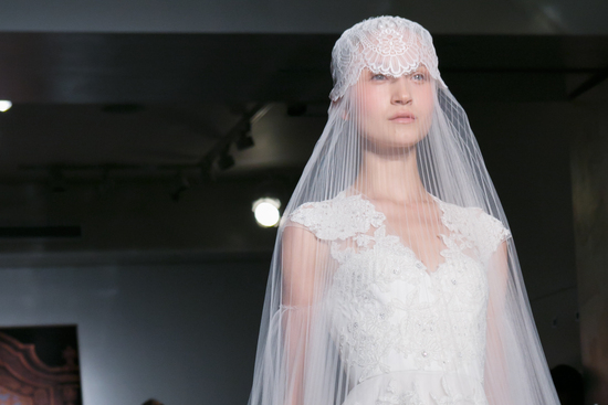 Reem Acra wedding dress Fall 2013 bridal statement veil 4