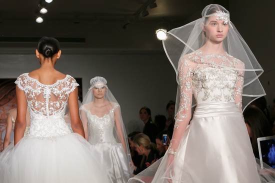 Reem Acra wedding dress Fall 2013 bridal statement veil 9