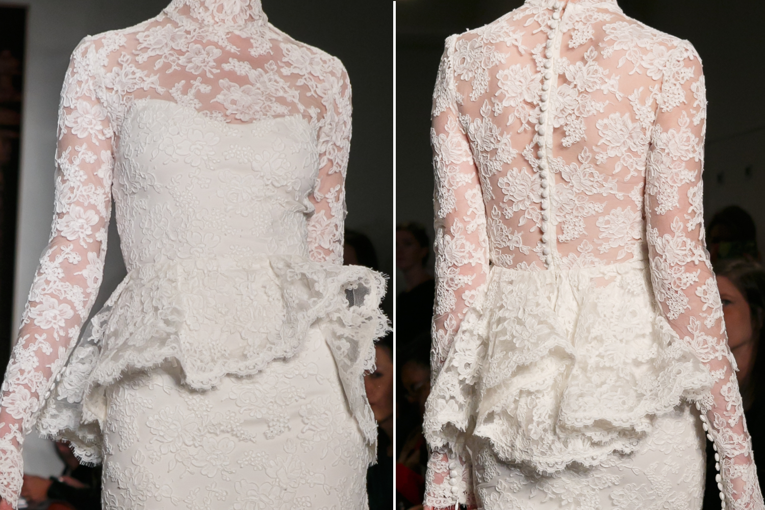 Reem acra wedding dress details fall 2013 lace trumpet for Reem acra lace wedding dress