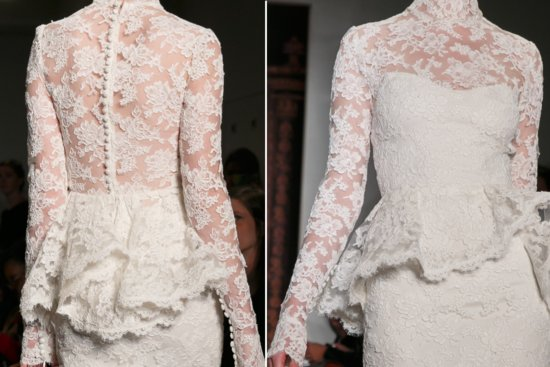 reem acra wedding dress details Fall 2013 lace trumpet