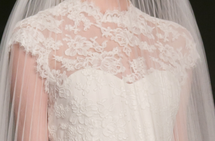 Lace illusion neckline wedding dress reem acra fall 2013 for Reem acra lace wedding dress