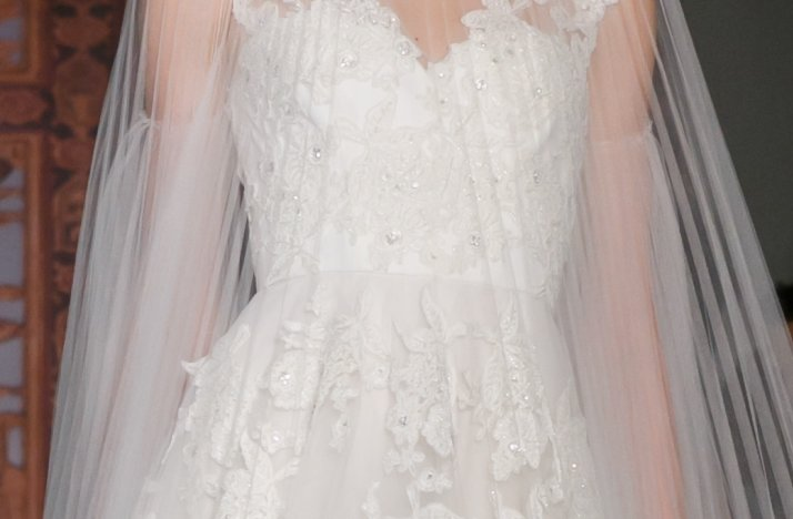 lace illusion neckline wedding dress Reem Acra Fall 2013 2