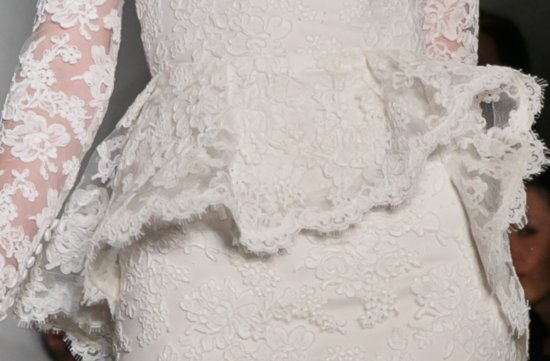 lace illusion neckline wedding dress Reem Acra Fall 2013 ivory lace sleeves peplum