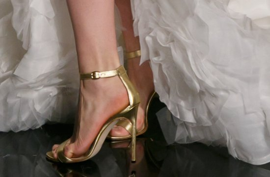 Bridal Runway Details from Reem Acra Fall 2013 gold wedding heels