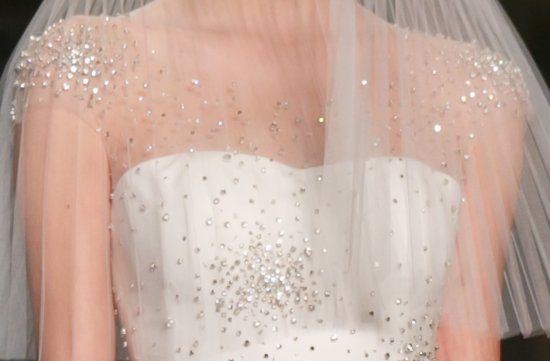 sheer beaded wedding dress Reem Acra Fall 2013