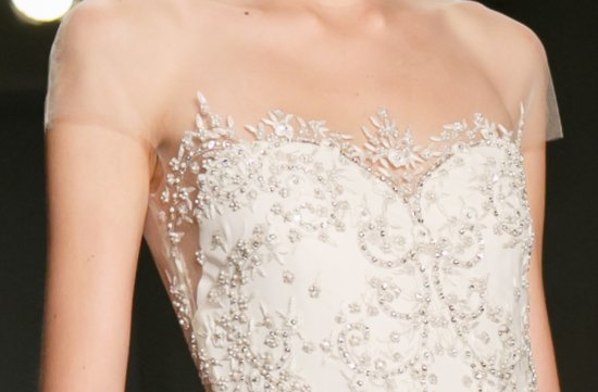 sheer beaded wedding dress Reem Acra Fall 2013 delicate cap sleeve