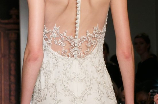 sheer beaded wedding dress Reem Acra Fall 2013 delicate cap sleeve 2