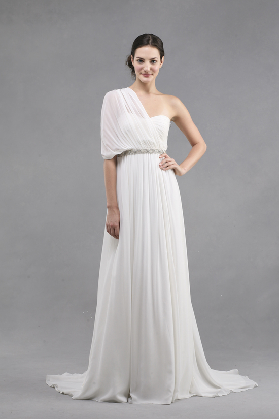 jenny yoo wedding dress colllection spring summer 2013 bridal gowns monarch off the shoulder draped