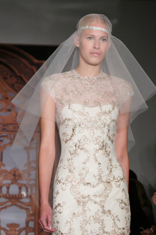 Reem Acra wedding dress Fall 2013 bridal Jen Gold front