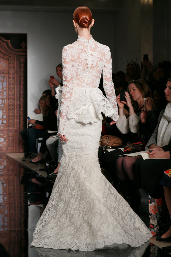 Reem Acra wedding dress Fall 2013 bridal Frances Alluring Beauty Lace Peplum f
