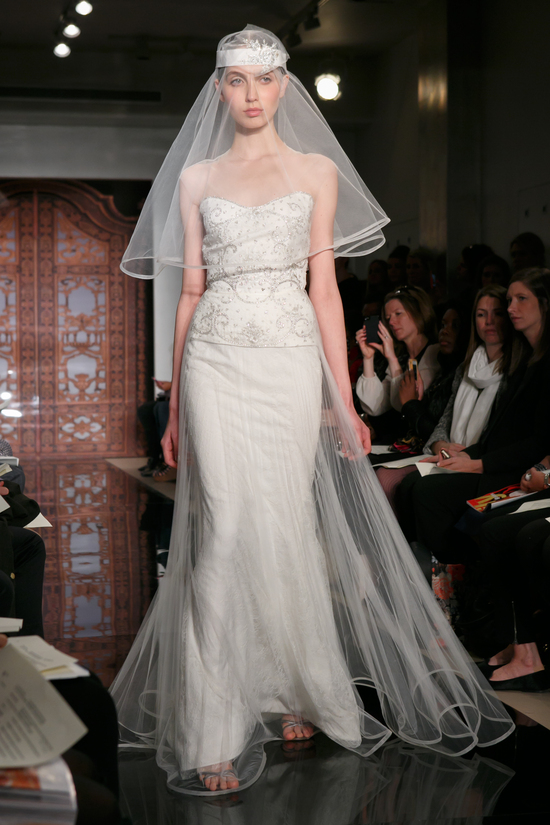 photo of Reem Acra wedding dress Fall 2013 bridal Melise Rich Lucky Lace 1