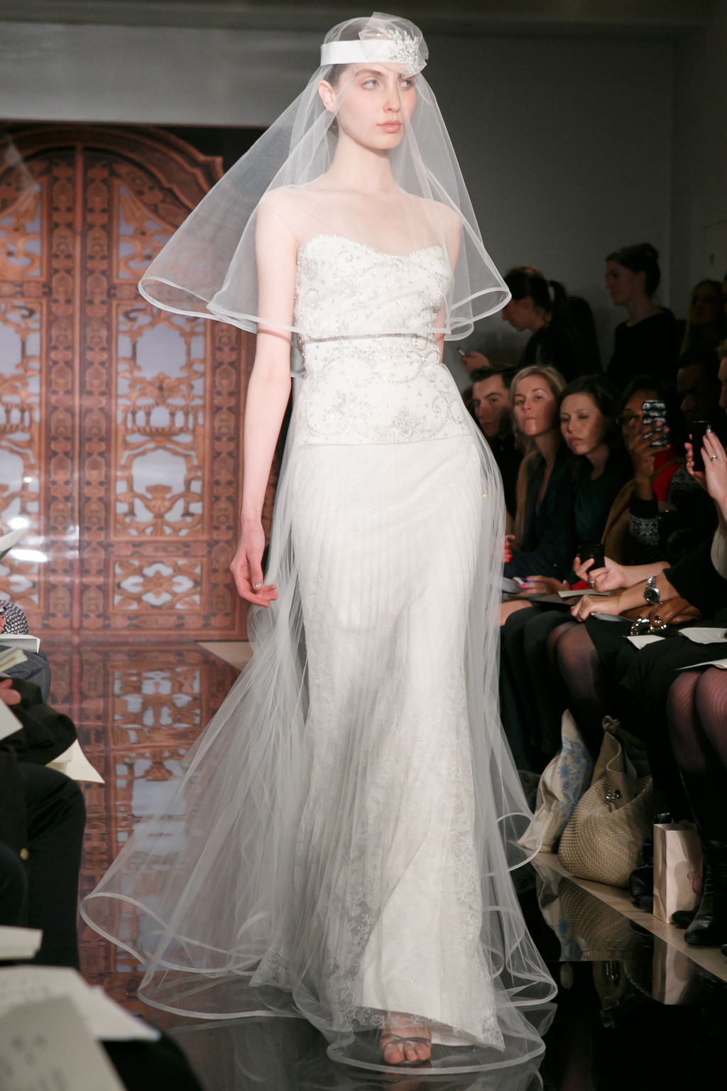 Reem acra wedding dress fall 2013 bridal melise rich lucky for Reem acra lace wedding dress