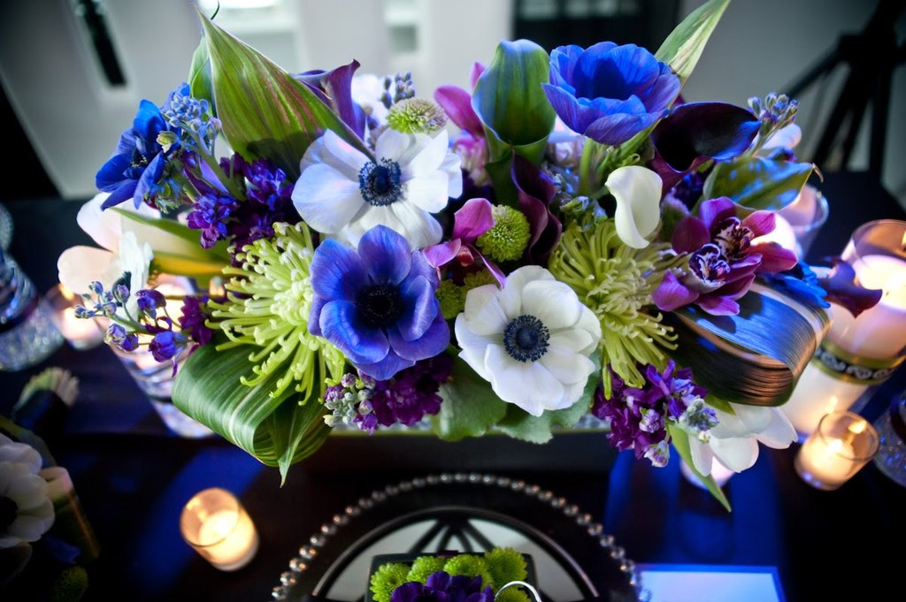 wedding reception centerpiece purple white