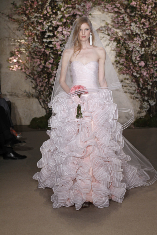 photo of Get Jessica Biel's White Aisle Style: 9 Pretty Pink Wedding Gowns