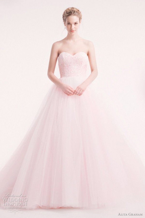 photo of Jessica Biel bridal gown lookalikes alita graham pink wedding dress