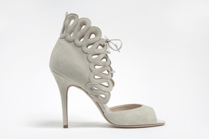 photo of wedding shoes by monique lhuillier Fall 2013 bridal white suede peep toes