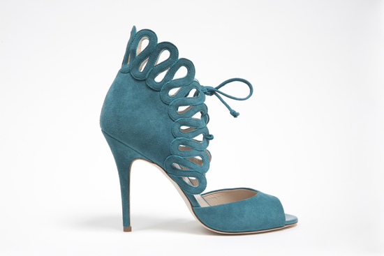 wedding shoes by monique lhuillier Fall 2013 bridal aqua peep toes
