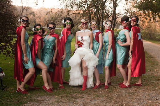 funny bridesmaids photo superhero wedding party