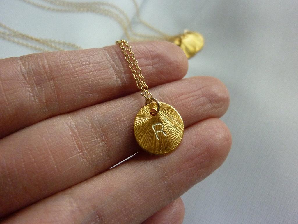 customized wedding jewelry engraved monogram necklace gold