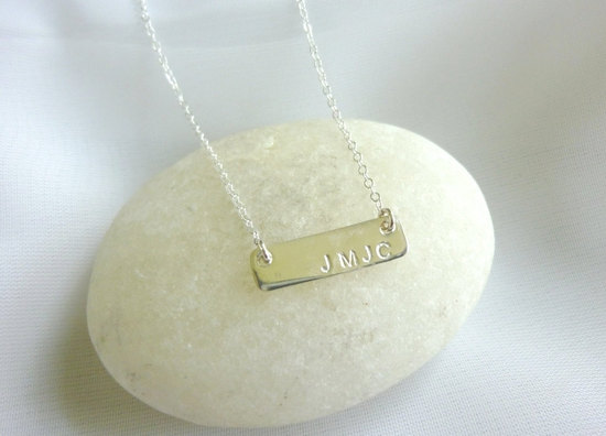 customized wedding jewelry engraved monogram necklace gold LOVE